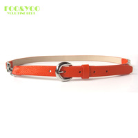 Fooyoo litchi elegant cowhide genuine leather thin belt mustard ivory yellow orange SF717