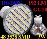 110-240V Warm White 48PCS 3528 SMD LED Light GU10 LED Lamp Spotlight 192 LM 3W IP44 LED Bulb Free shipping