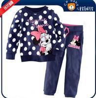 2013 children kids pajamas minnie mouse sleepwear clothes sets cotton cartoon pajama girls tshirt pants clothing set