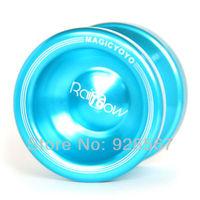 100% High Quality Magic Yo Yo T6 Rainbow Blue Aluminum Alloy Metal Professional Yo-Yo toys +2 Strings Free shipping