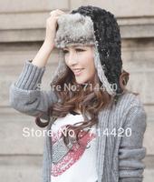 Winter Women's Warmer Weave Knitted Twist braid Headdress Hats Cap Earflap Hat