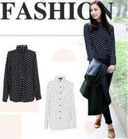 2015 Fashion Ladies Casual Chiffon Shirt Lapel Polka Dot Print Tops Loose Long Sleeve Blouse Women Plus size