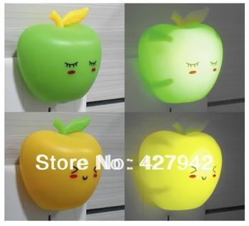 Wholesale Novelty LED Night Lamp Fruit Apple Light Energy Saving Light Senor Control Mini Book Lamp Bedroom Light Free Shipping