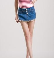 2013 new summer women fashion lace denim short, lady cotton denim pants