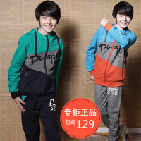 Male child set spring and autumn 2014  boy child sports set sweatshirt clothing   free  shipping