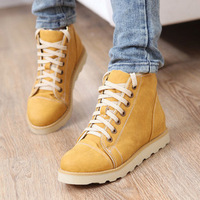 Lacing platform round toe boots elevator flat martin boot womens ankle boots