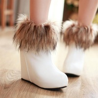 Ultra high heels sexy boots elevator wedges ankle-length white fox fur boots fashion riding boots