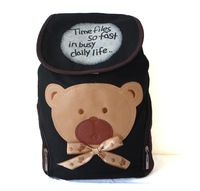 F55(black) Wholesales Leisure bag,knapsack,rucksack,lovely Bear on front,fabric,43x 38cm,5 different colors,Free shipping