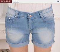 2013 new summer women fashion light blue color denim short, lady cotton washed out denim pants