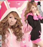 Free shipping  2014 winter autumn women's rabbit ear bow sweatshirt outerwear hooded coat