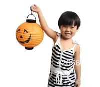 Halloween pumpkin lamp decoration supplies props to use LED as the light source portable pumpkin paper lantern bar scene