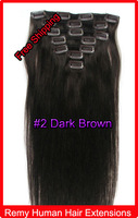 """Mix Order 20"""" 22"""" 100g Clip In Virgin Remy Human Hair  Extensions #2 Dark Brown 10sets/Lot"""