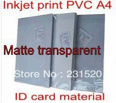 Transparent ID Card Printing supplies material, Blank Inkjet print PVC sheets A4, 50sets, 0.71mm thick