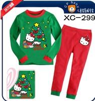 New style children's Christmas dress 6sets/lot, long sleeve t - shirt pants, children's pajamas, Kitty baby pajamas