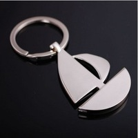 2014 new metal novelty items Creative Sailing boat keychain key chain gift logo Zinc Alloy metal fob chain bag charm trinket