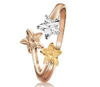 pure 18k yellow gold three stars   fashion wedding engagment party birthday gift  free shipping