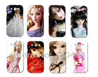 2013 New Style 8pcs/lots wholesale Cute Barbii doll hard white case cover for Samsung i9300 Galaxy SIII + free shipping