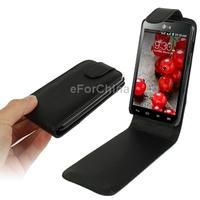 Pure Color Vertical Flip Leather Case for LG Optimus L7 II  P715 Black