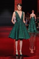 Free Shipping New Green Evening Dress Sexy Deep V-Neck Elie Saab Crystal Knee Length Prom Dress 2013-2014 f16