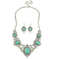 New arrive bride necklace 2013 Top quality hollow out turquoise costume jewelry Free shipping RuYiXLY018
