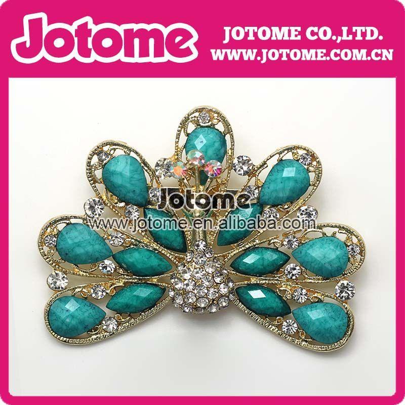 اشياء الطاوس Free-shipping-Vintage-Style-Antique-Gold-Plated-Turquoise-and-Blue-Rhinestone-Crystal-font-b-Peacock-b