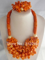 Free ship !!! New Design Natural Coral stone beads Orange petal flower jewelry set