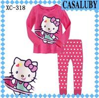 New style, 6 sets/lot, gilrs KT lovely long sleeve t shirts & pants,  children pyjamas, baby pajamas, XC-318