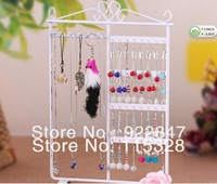 Free Shipping New Jewelry Earring Display, 32 Holes White Metal Earring Jewelry Necklace Display Rack Stand Holder 201304037-2