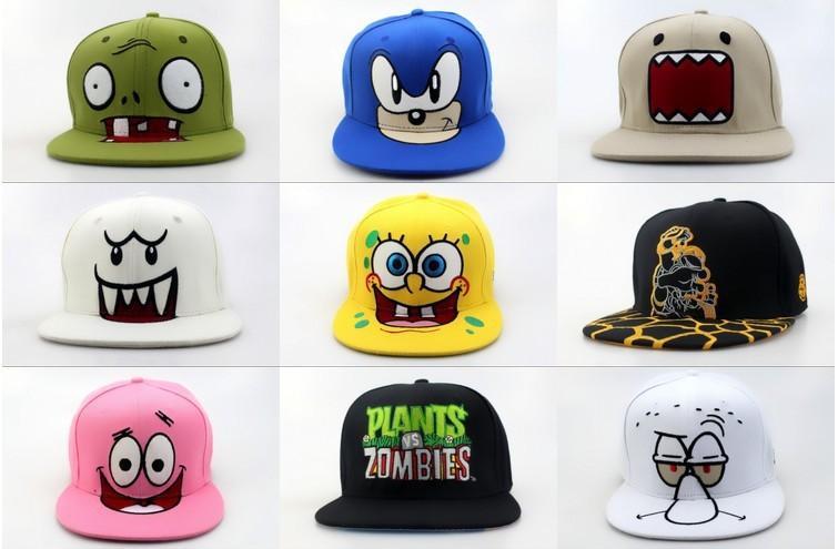 Wholesale cartoon snapback hats, Plants vs Zombies Zombie Big Face,spongebob, DOMO, Nickelodeon Cartoon adjustable baseball cap(China (Mainland))