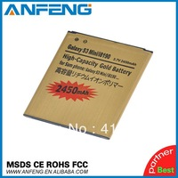 2450mah GOLD High Capacity Battery For Samsung Galaxy S3 III mini I8190 Galaxy S Duos S7562 Singapore Post Free 1pc/lot