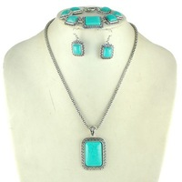 Min. order $5 New vintage national style turquoise necklace set necklace+earrings+bracelet Free shipping RuYiXLY020