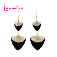 Hot Selling Christmas Gift  Fashion Jewelry New Sparking Punk Costumes Enamel Triangle Gold Color Alloy Drop  Earrings For Women