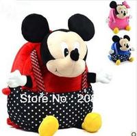 5PCS Free shipping wholesale retail cute children Kindergarten school bag cartoon Mickey plush backpack for boys girls red blue