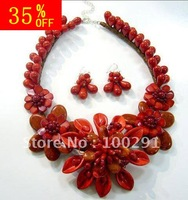 free shipping 35% off  flower necklace big gemsotne shell  coral   hand made flower neckalce for christmas gift,wedding