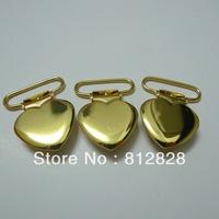 25pcs 1'' 25mm Gold Color Heart Shape Suspender Clips