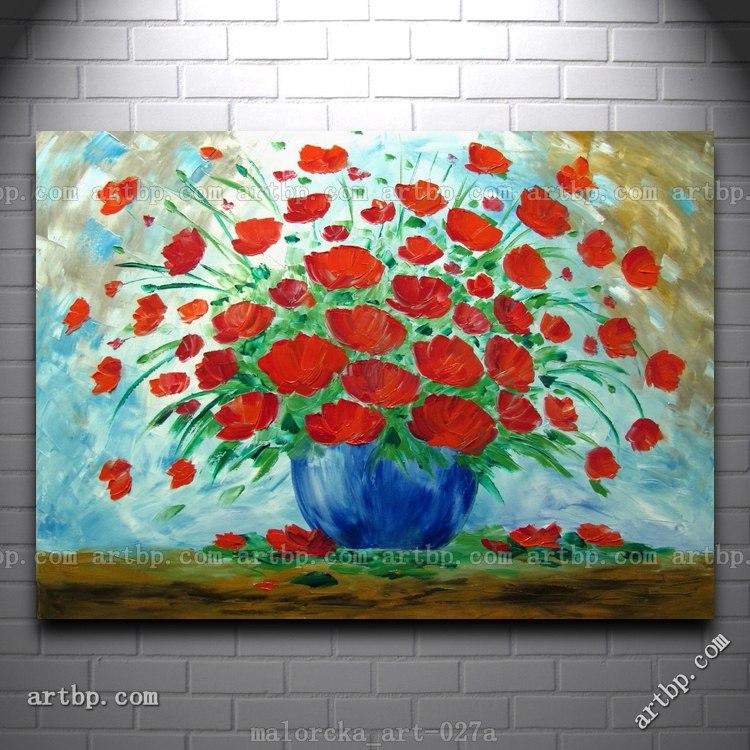 Poppies Malorcka Art pintura a óleo original Summer Flowers Art Blue Red Deco parede da sala Pictures Famous Reprodução Wal(China (Mainland))