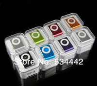 High quality 100% Test  MINI clip MP3 Player with 8 color Support micro memory card + USB Cable+Earphone+Gift box 10sets/lot