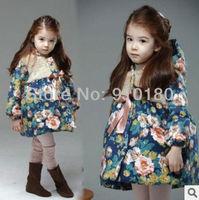 Retail 2014 new fashion kids girls winter hoodies winter coat girl' outwear warm cotton padded  jacket