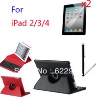 New Wireless Bluetooth 3.0 Removeable Keyboard Rotating 360 Folio Stand Leather Case Cover for Apple iPad 2 3 4 +2* Films+Stylus