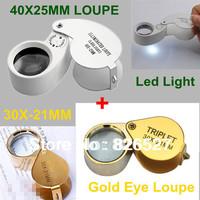 Mini illuminated 40X-25mm Led Light Magnifying Glass + 30x-21mm Professional Gold Jewelers Eye Loupe Magnifier Lens