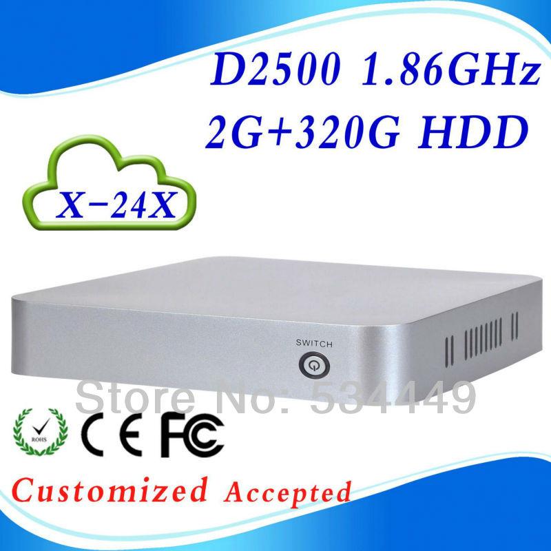 Prix le moins cher intel atom d2500 x-24x 2g 320g hdd ram informatique pc client léger mini pc de bureau bureau i7 blanc argenté