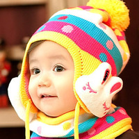 Autumn and Winter Baby Rabbit Hat scarf set Child yarn Ear Protector Cap set