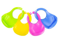 Hot selling Free Shipping 10pieces/lot Adjustable Size Novelty Baby Bibs Waterproof With Pocket (Color: Yellow,Blue,Pink,Green)