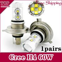 Free Shipping 2pcs/lot  h4 60w High Power Cree Vehicles Car Turn Auto Fog Light Bulbs auto