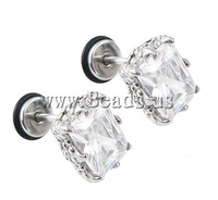 Free shipping!!!Stainless Steel Ear Piercing Jewelry,2013 Fashion Jewelry, 316L Stainless Steel, Flower, with cubic zirconia