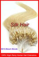 "Free Shipping 50g 18"" 20"" 22"" Keratin Micro Loop Ring Links Virgin Remy Human Hair Extensions #613 Bleach Blonde 0.5g/s"