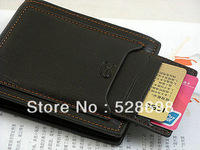 New 2013 Black Mens cow leather bifold wallet credit/ID card holder slim purse
