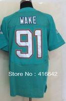 Miami 91 Cameron Wake 2013 Green Elite Football Jerseys Sewn logos Free Shipping