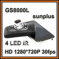 "GS8000L Car DVR Recorder Sunplus Chipset 2.7"" LCD HD 1280*720P 30fps 120 degree Wide Angle 4 IR Night Vision Cycle Recording"