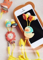 Free shipping cartoon earbuds with mic animals earphones universal headsets for iphone samsung xiaomi